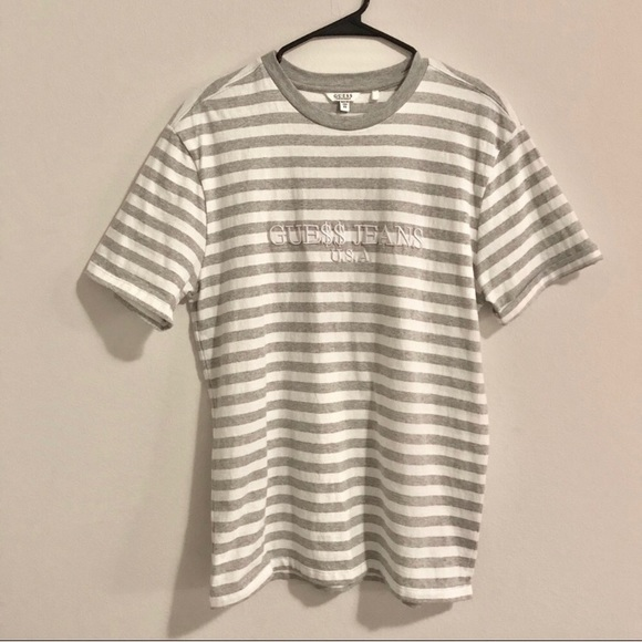 eebf8fb96565 Guess Shirts   Asap White And Gray Striped Tshirt   Poshmark